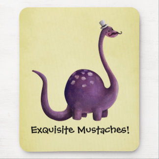 Dinosaur with Mustaches Mousepads