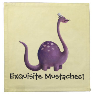 Dinosaur with Mustaches Printed Napkin