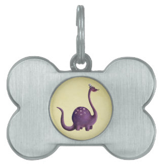 Dinosaur with Mustaches Pet ID Tag