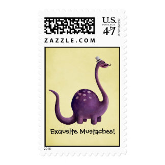Dinosaur with Mustaches Postage Stamp