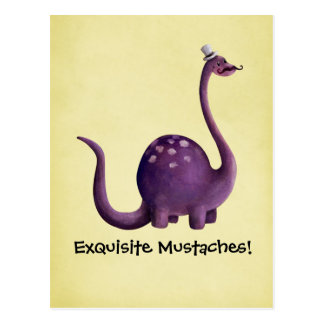 Dinosaur with Mustaches Post Card