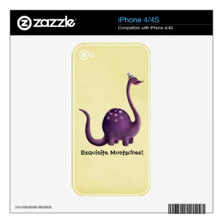 Dinosaur with Mustaches Decals For The iPhone 4