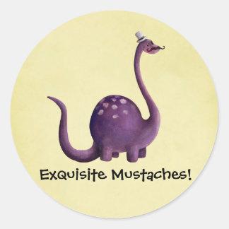 Dinosaur with Mustaches Round Sticker