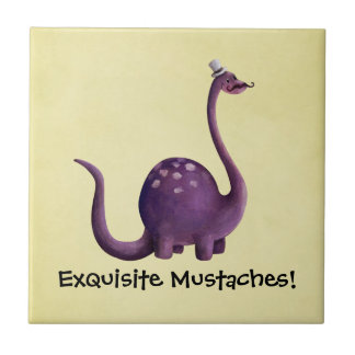 Dinosaur with Mustaches Tile