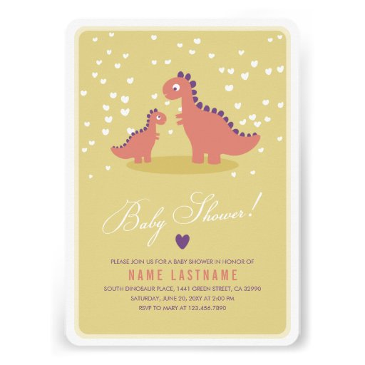 Dinosaur Yellow Pink Baby Shower Invite Rounded