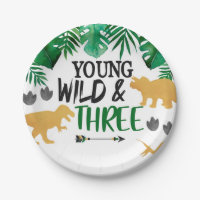 Dinosaur Young Wild Three Birthday Party Plates