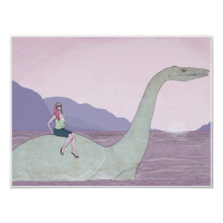 Dinosaurio 16x12 de la natación posters