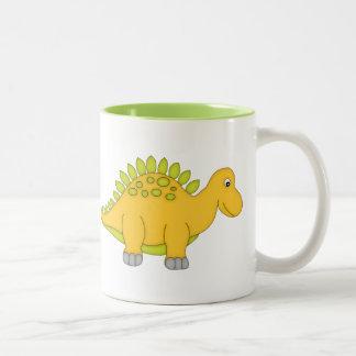 Dinosaurio amarillo y verde+Personalice el nombre Taza Dos Tonos