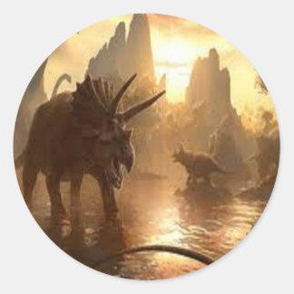 dinosaurio antiguo pegatina redonda