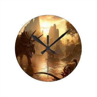 dinosaurio antiguo reloj redondo mediano
