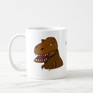 Dinosaurio asustadizo del dibujo animado de Rex de Tazas De Café