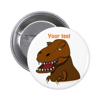 Dinosaurio asustadizo del dibujo animado de Rex Pin Redondo De 2 Pulgadas