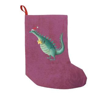 Dinosaurio - ayudante de Papá Noel Bota Navideña Pequeña
