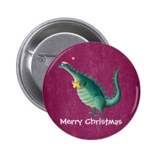 Dinosaurio - ayudante de Papá Noel Pin Redondo 5 Cm