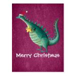 Dinosaurio - ayudante de Papá Noel Postales