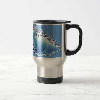 Dinosaurio azul claro del bebé taza de viaje de acero inoxidable