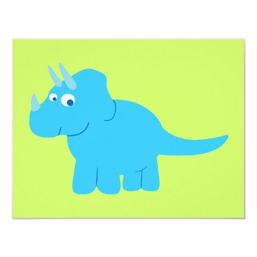 """Dinosaurio azul del Triceratops Invitación 4.25"""" X 5.5"""""""