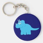 Dinosaurio azul del Triceratops Llavero Redondo Tipo Pin