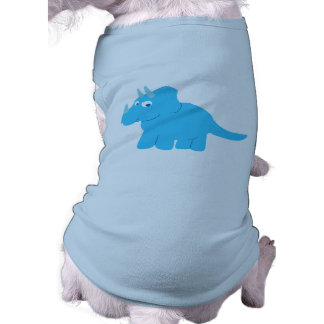 Dinosaurio azul del Triceratops Playera Sin Mangas Para Perro