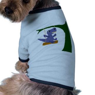 Dinosaurio azul divertido de T-Rex en el Camiseta Con Mangas Para Perro