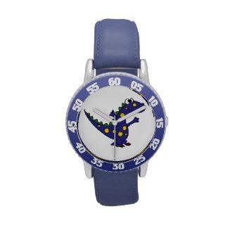 Dinosaurio azul feliz relojes de mano