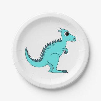 Dinosaurio azul platos de papel