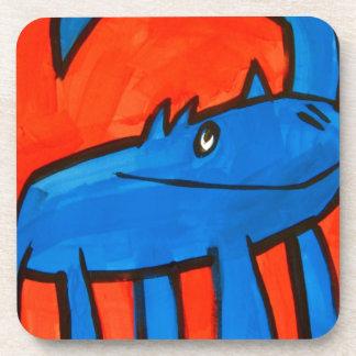 Dinosaurio azul posavasos de bebida