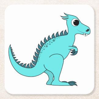 Dinosaurio azul posavasos desechable cuadrado