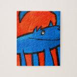 Dinosaurio azul rompecabeza con fotos