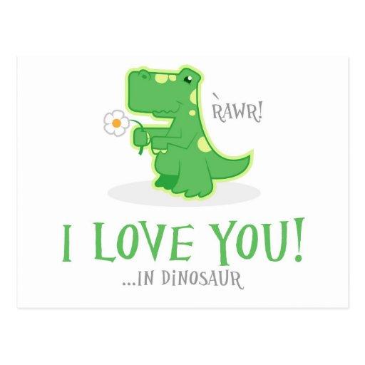 Dinosaurio cariñoso tarjetas postales
