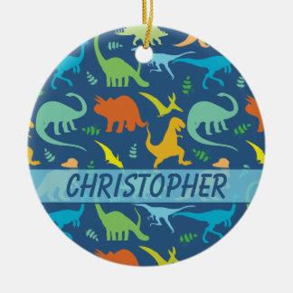 Dinosaurio colorido a personalizar adorno navideño redondo de cerámica