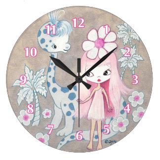 Dinosaurio con Cavegirl Reloj Redondo Grande