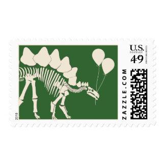 Dinosaurio con los globos sellos postales