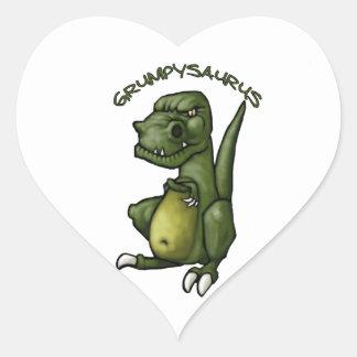 ¡Dinosaurio de Grumpysaurus que es gruñón! Calcomanía Corazón Personalizadas