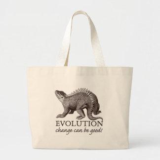 Dinosaurio de la evolución bolsas lienzo