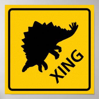Dinosaurio de la muestra de la carretera de la tra posters