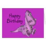 Dinosaurio de la púrpura del cumpleaños de Childs Tarjetas