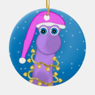 Dinosaurio de la violeta del día de fiesta adorno redondo de cerámica
