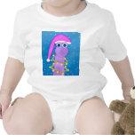 Dinosaurio de la violeta del día de fiesta traje de bebé