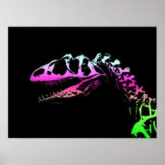 Dinosaurio de neón del Allosaurus del arte del vec Póster