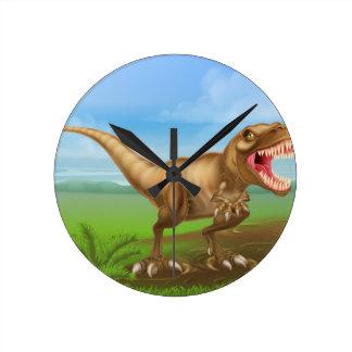 Dinosaurio de Rex de los Tyrannosaurs Reloj Redondo Mediano
