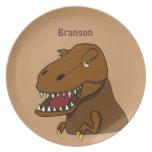 Dinosaurio de Rex del Tyrannosaurus del dibujo ani Plato De Comida