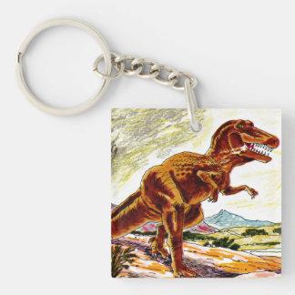 Dinosaurio de Rex del Tyrannosaurus Llavero Cuadrado Acrílico A Doble Cara