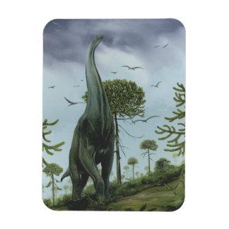 Dinosaurio de Sauroposeidon del vintage con volar  Imán Rectangular