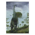 Dinosaurio de Sauroposeidon del vintage con volar  Felicitacion