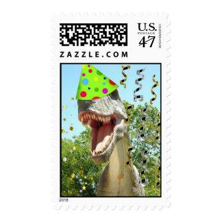 Dinosaurio de T-Rex de la fiesta de cumpleaños Sellos