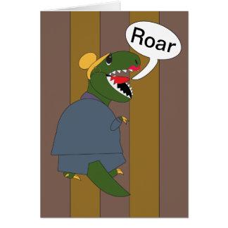 Dinosaurio de T-Rex del día de Boss (femenino) Tarjeta De Felicitación