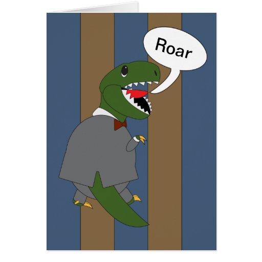 Dinosaurio de T-Rex del día de Boss (varón) Felicitacion