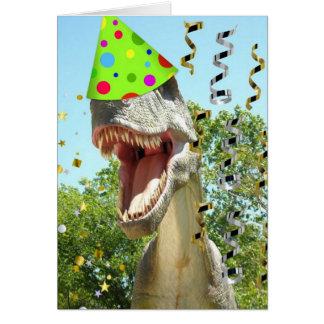 Dinosaurio de T-Rex del feliz cumpleaños Tarjeta De Felicitación