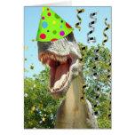 Dinosaurio de T-Rex del feliz cumpleaños Tarjetón